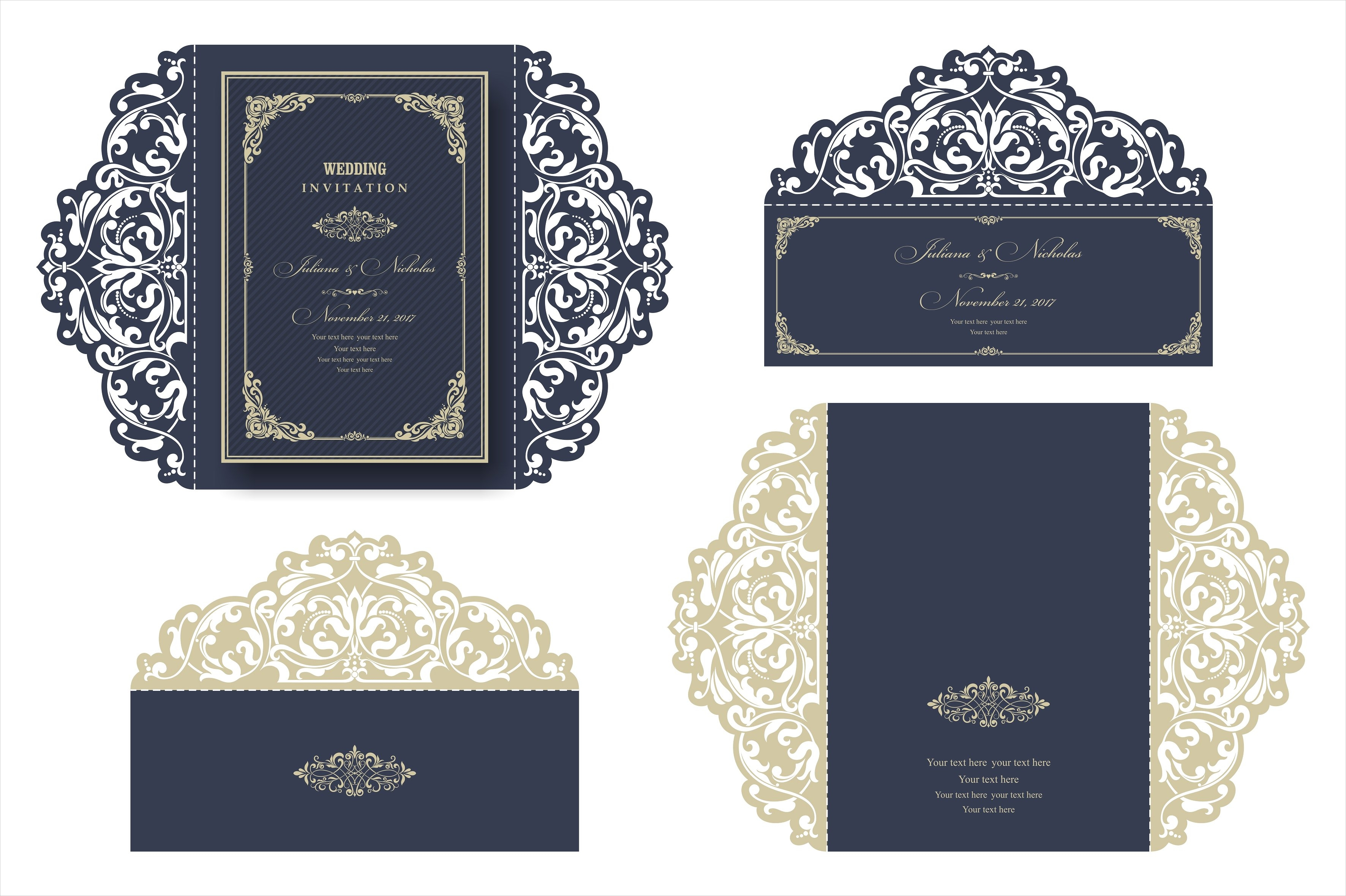 vintage traditional wedding invitation1
