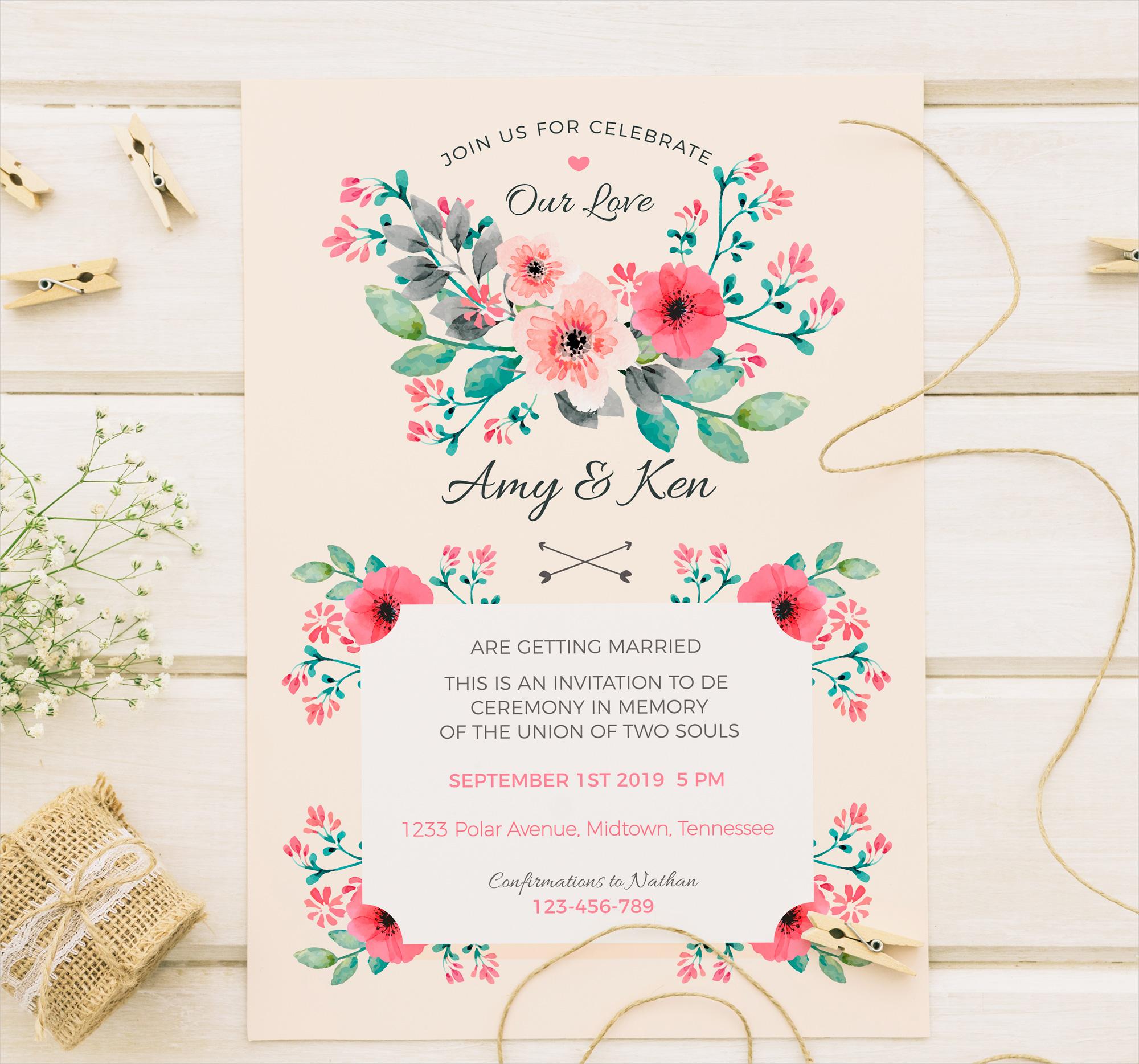 vintage watercolor wedding invitation