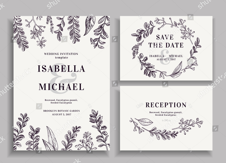 vintage wedding reception invitation