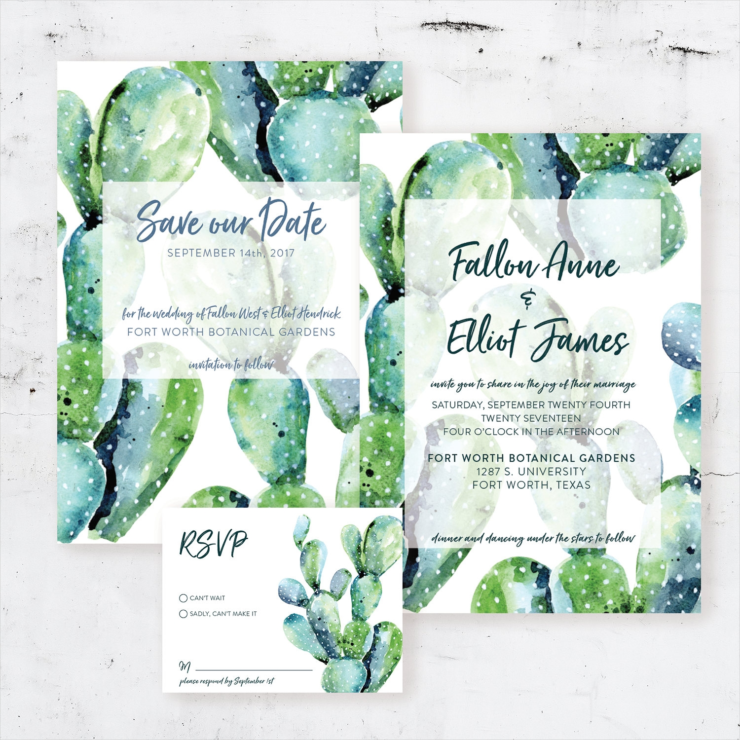 watercolor cactus succulent desert wedding invitation