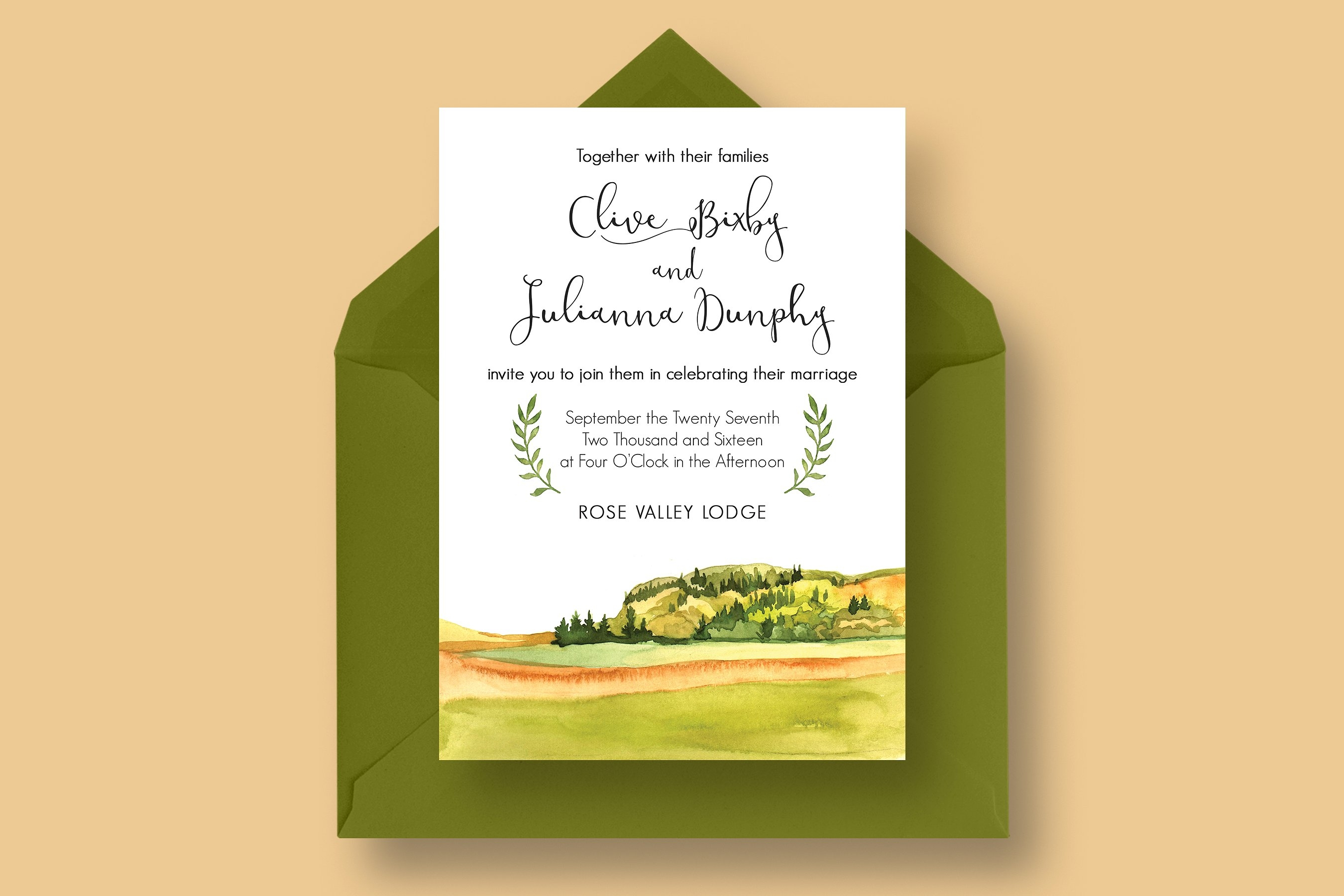 watercolor country wedding invitation