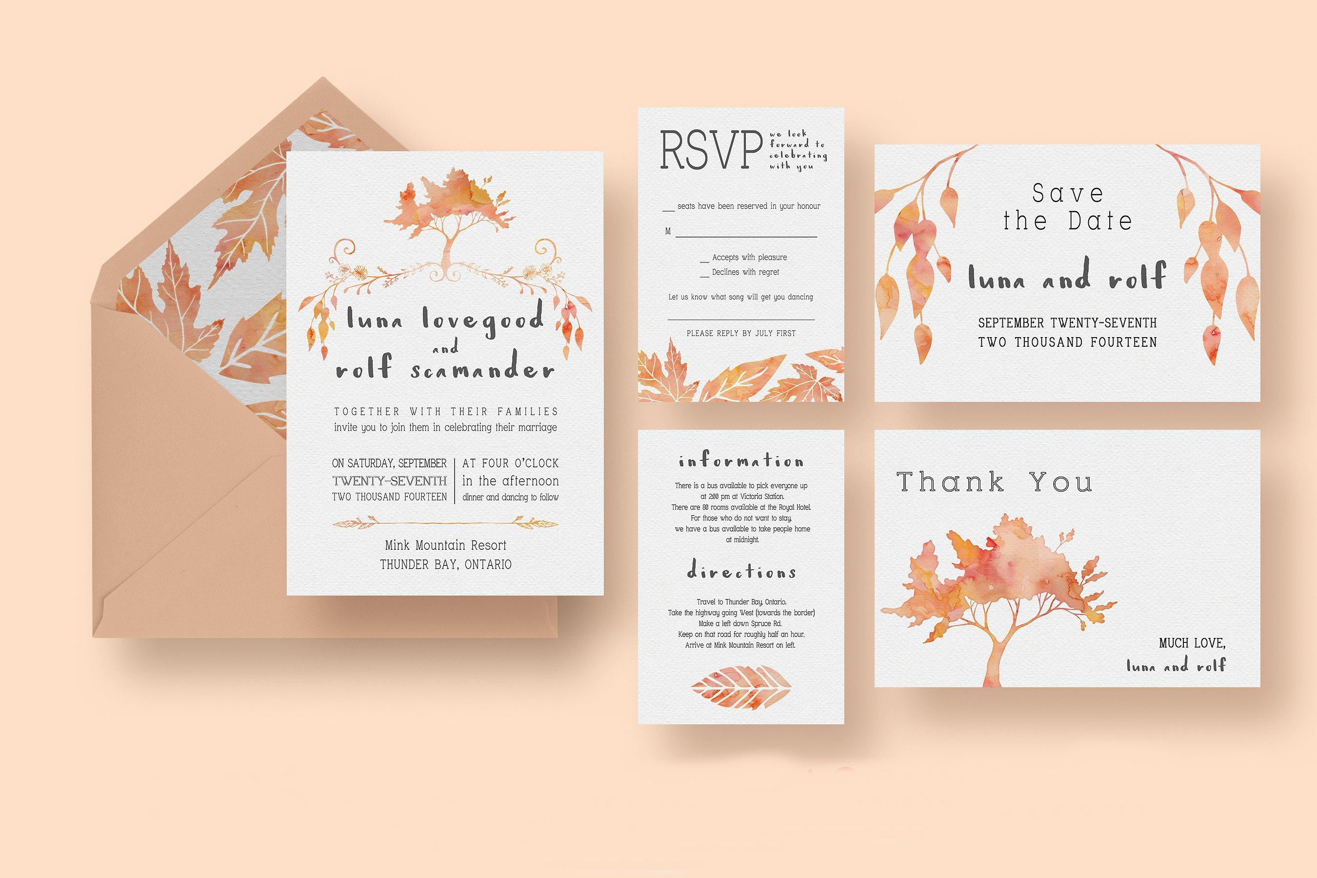 watercolor fall tree wedding invitation
