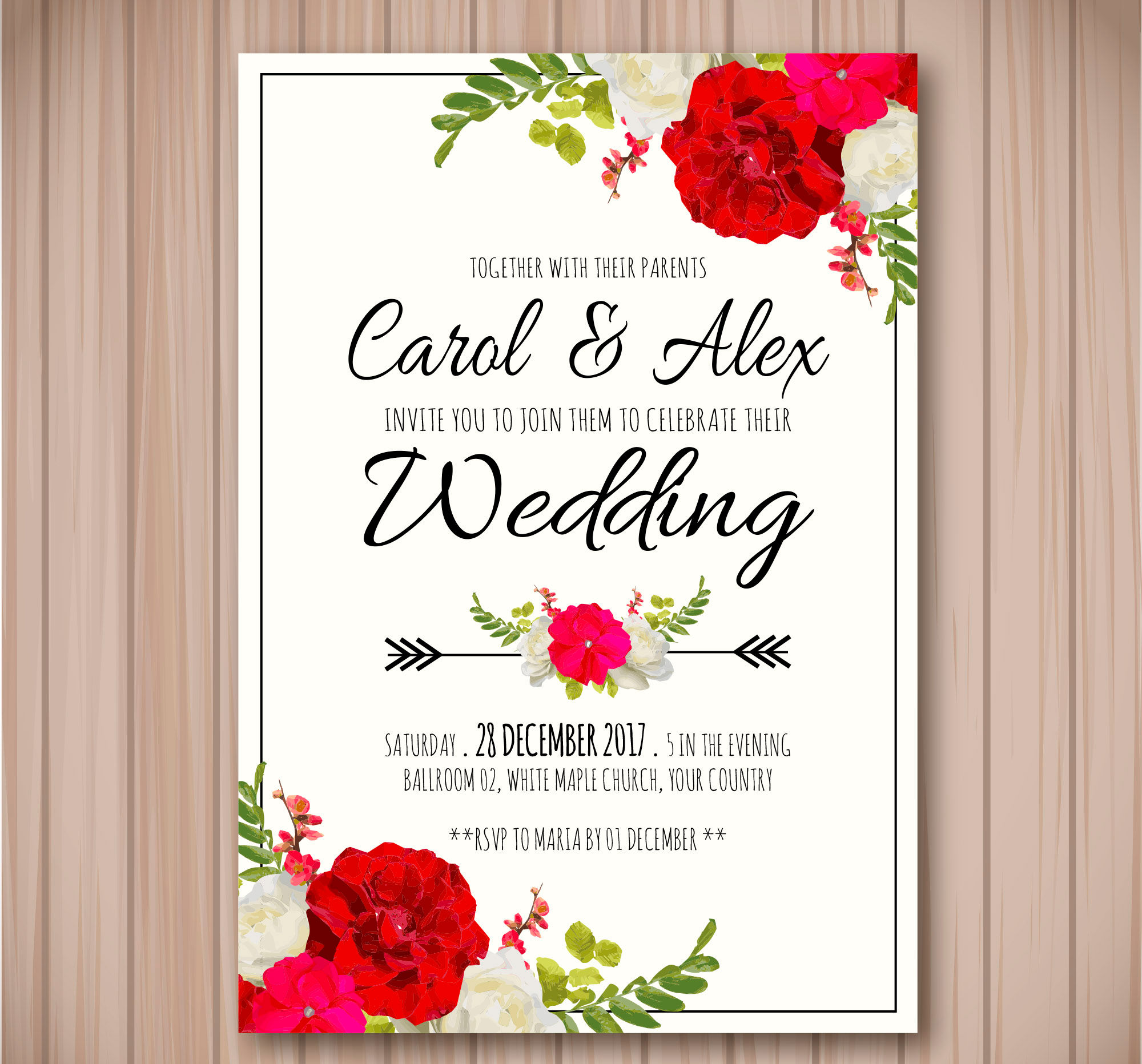 watercolor flowers wedding invitation1