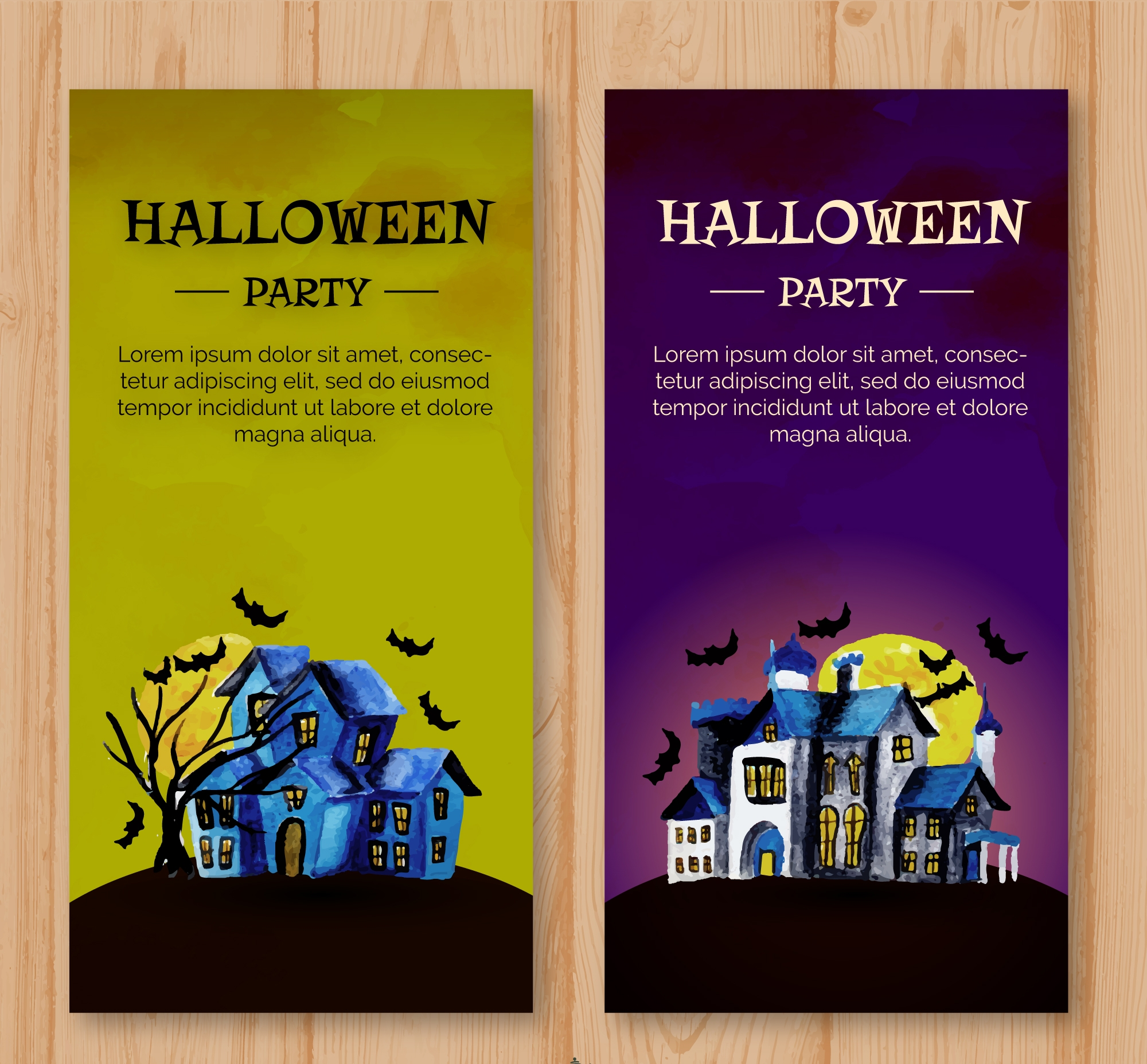 watercolor halloween flyer template
