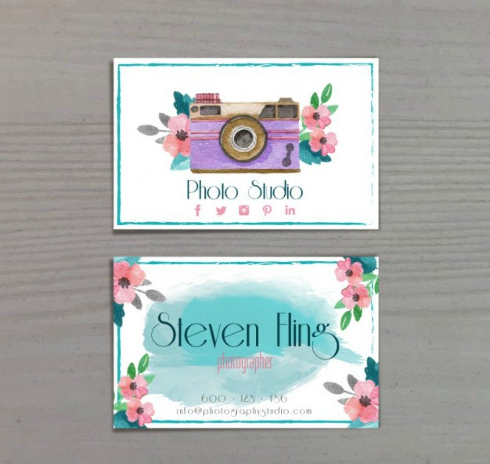 watercolor photography business card
