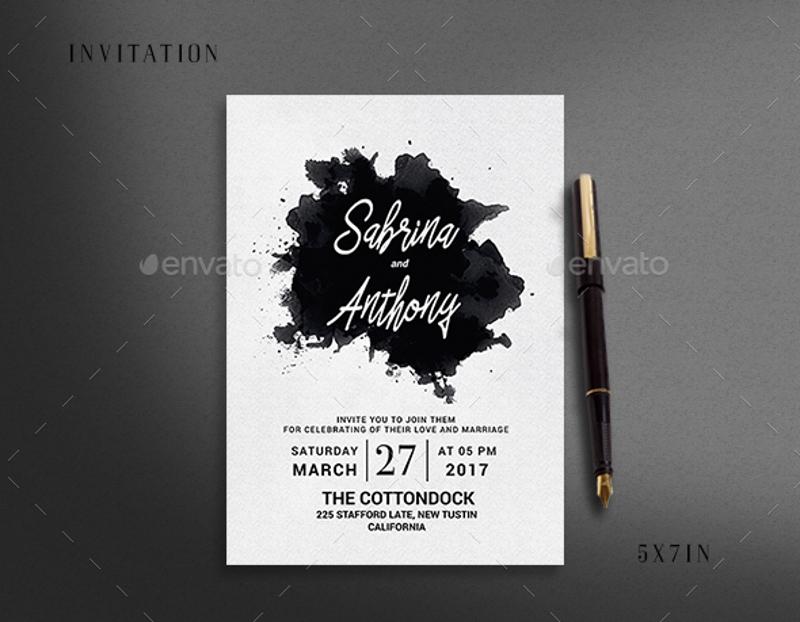watercolor snow wedding invitation