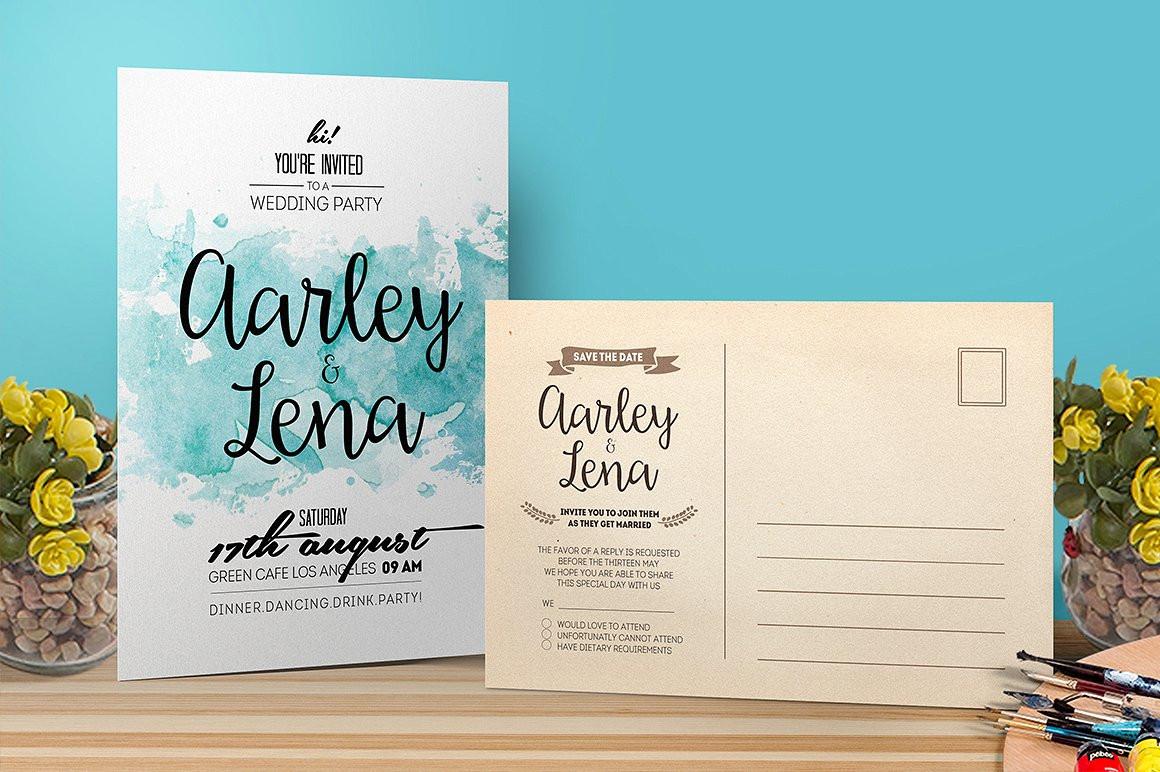 watercolor wedding party invitation