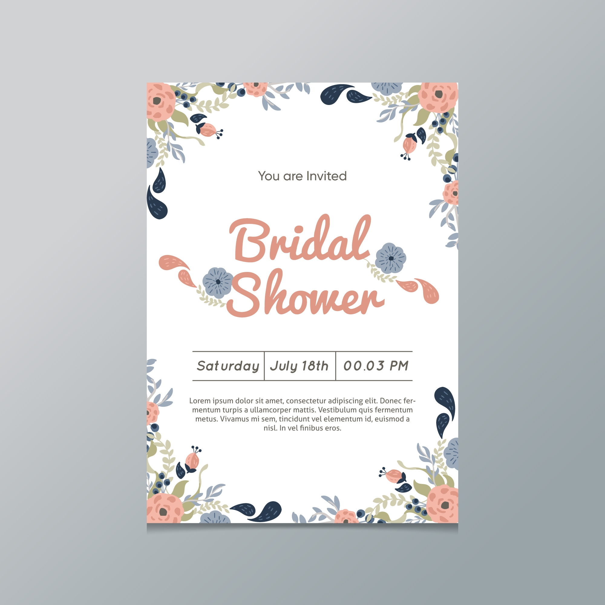 watercolor wedding shower invitation