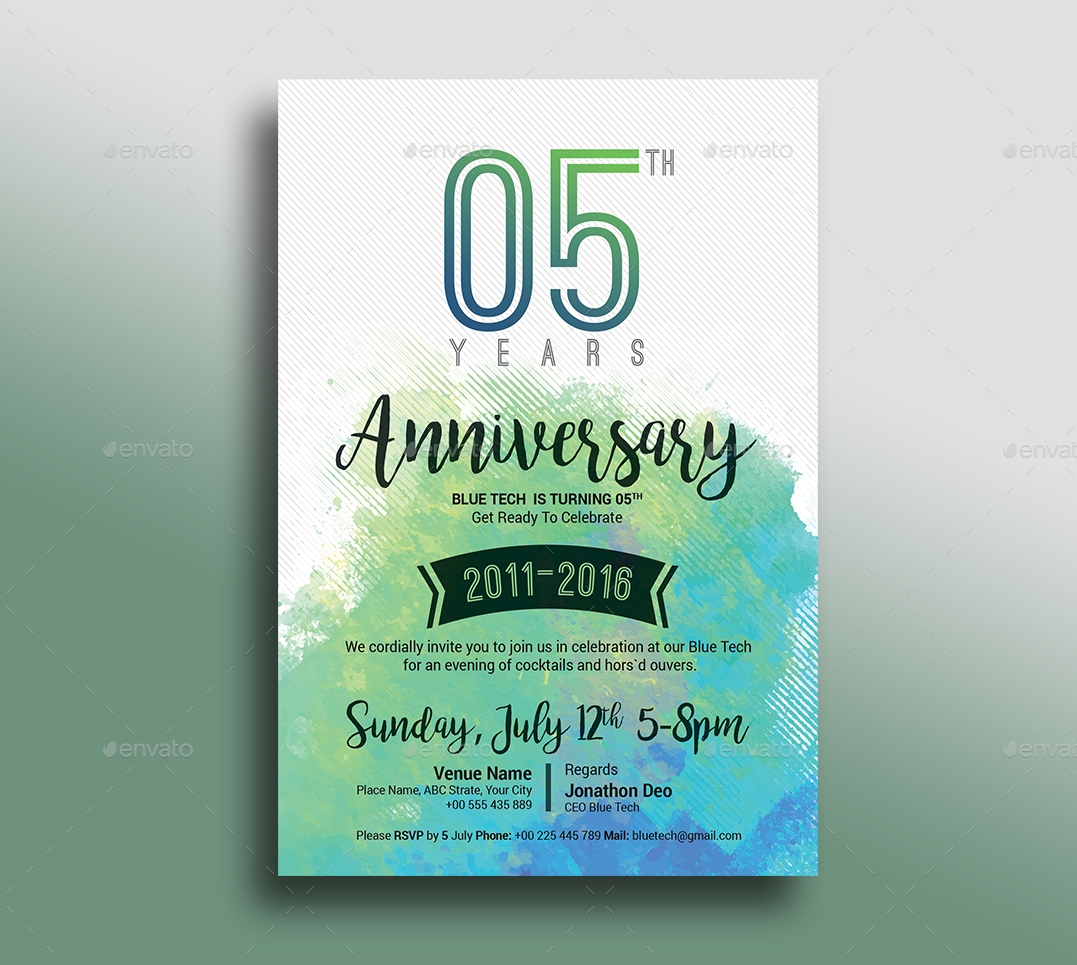 watercolour wedding anniversary invitation