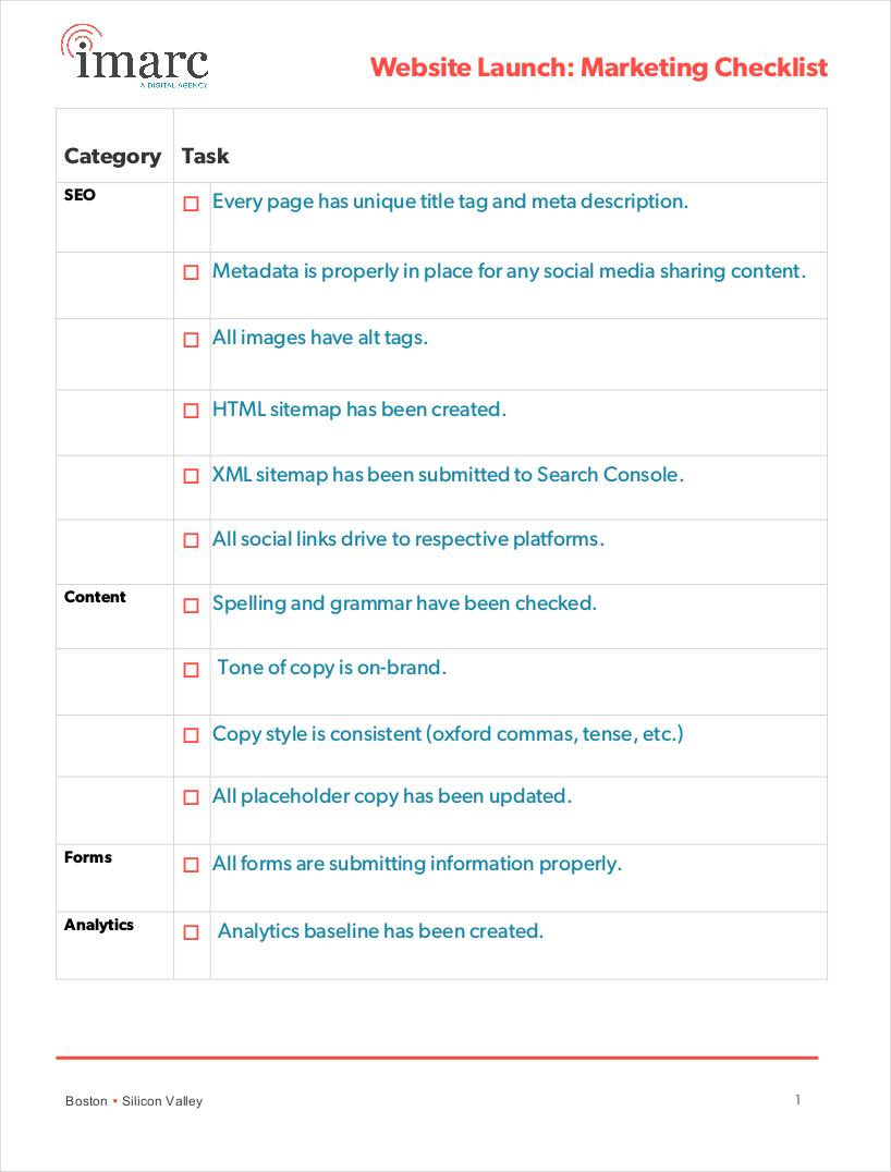website launch marketing checklist1