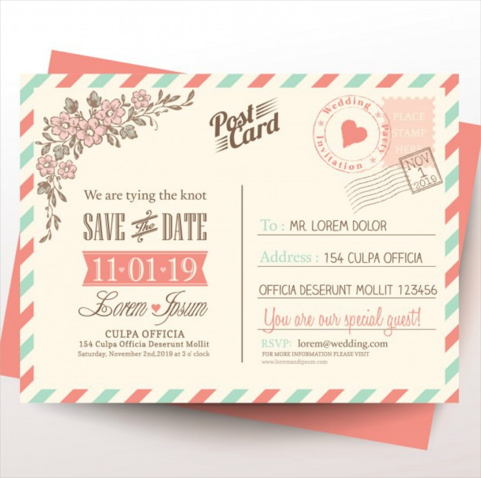 39 postcard templates and examples wedding invitation postcard stopboris Images