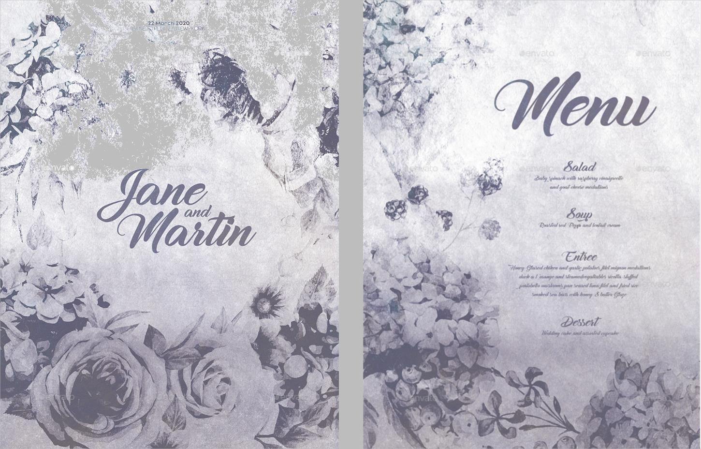 wedding invitation and menu set