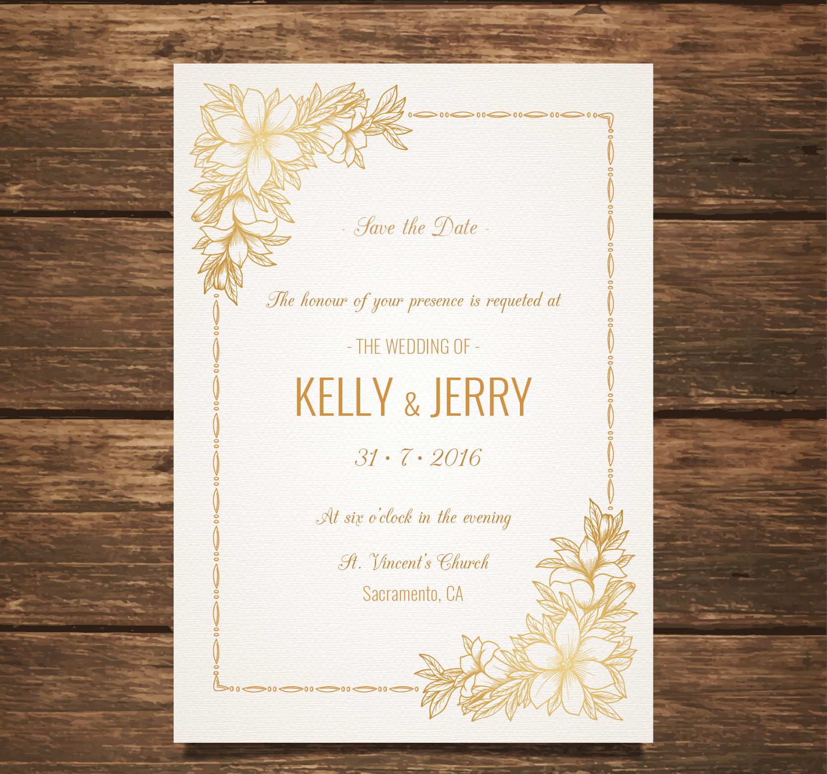 wedding invitation with golden flowers