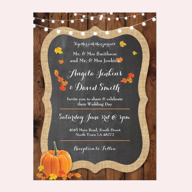 wedding pumpkin fall wood chalk party invitation