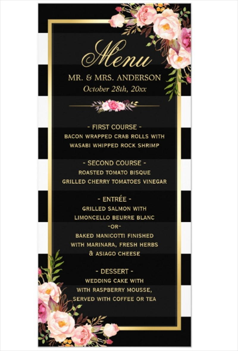 wedding reception menu1