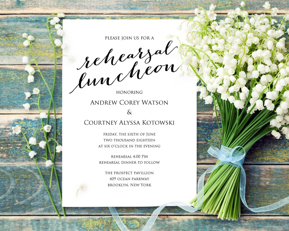wedding rehearsal luncheon invitation