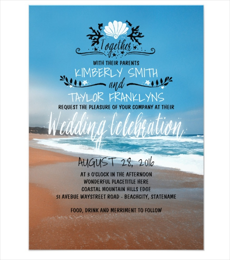 whimsical beach wedding invitation