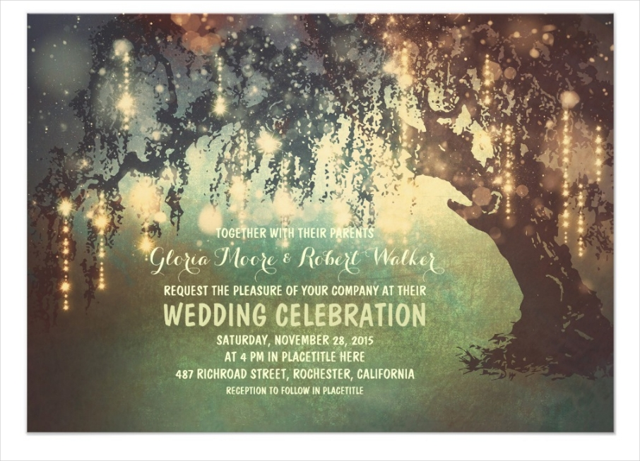 whimsical string lights tree wedding invitation