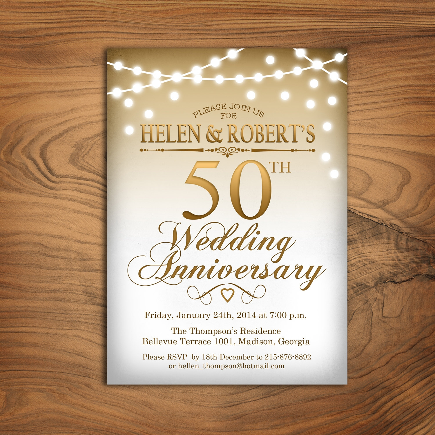 white and gold 50th wedding anniversary invitation
