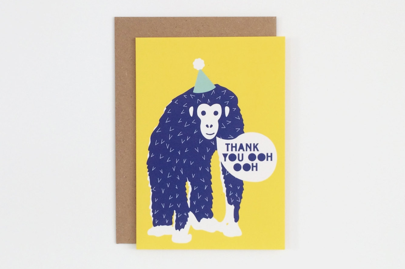 wild themed kids thank you card