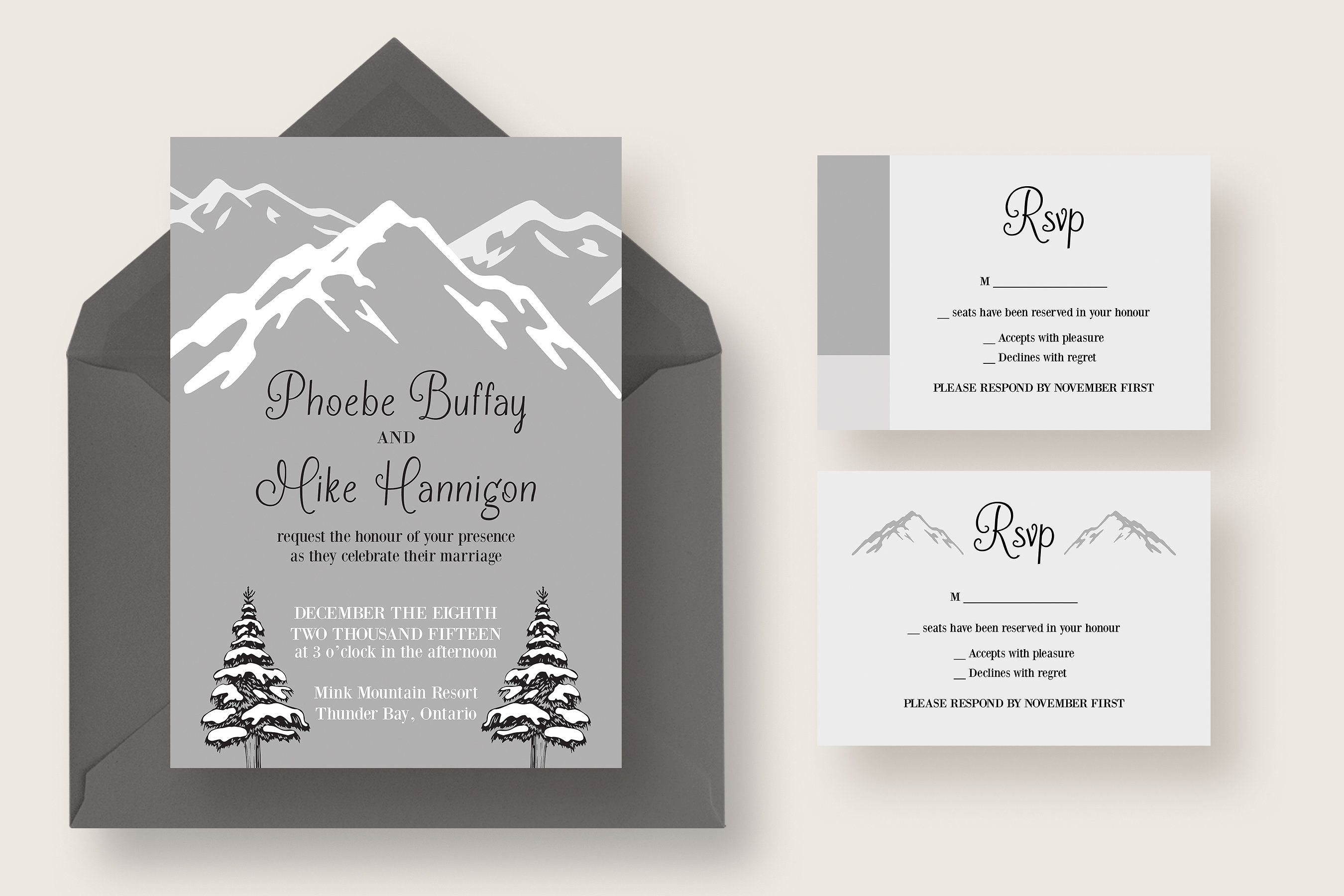 winter mountain wedding invitation