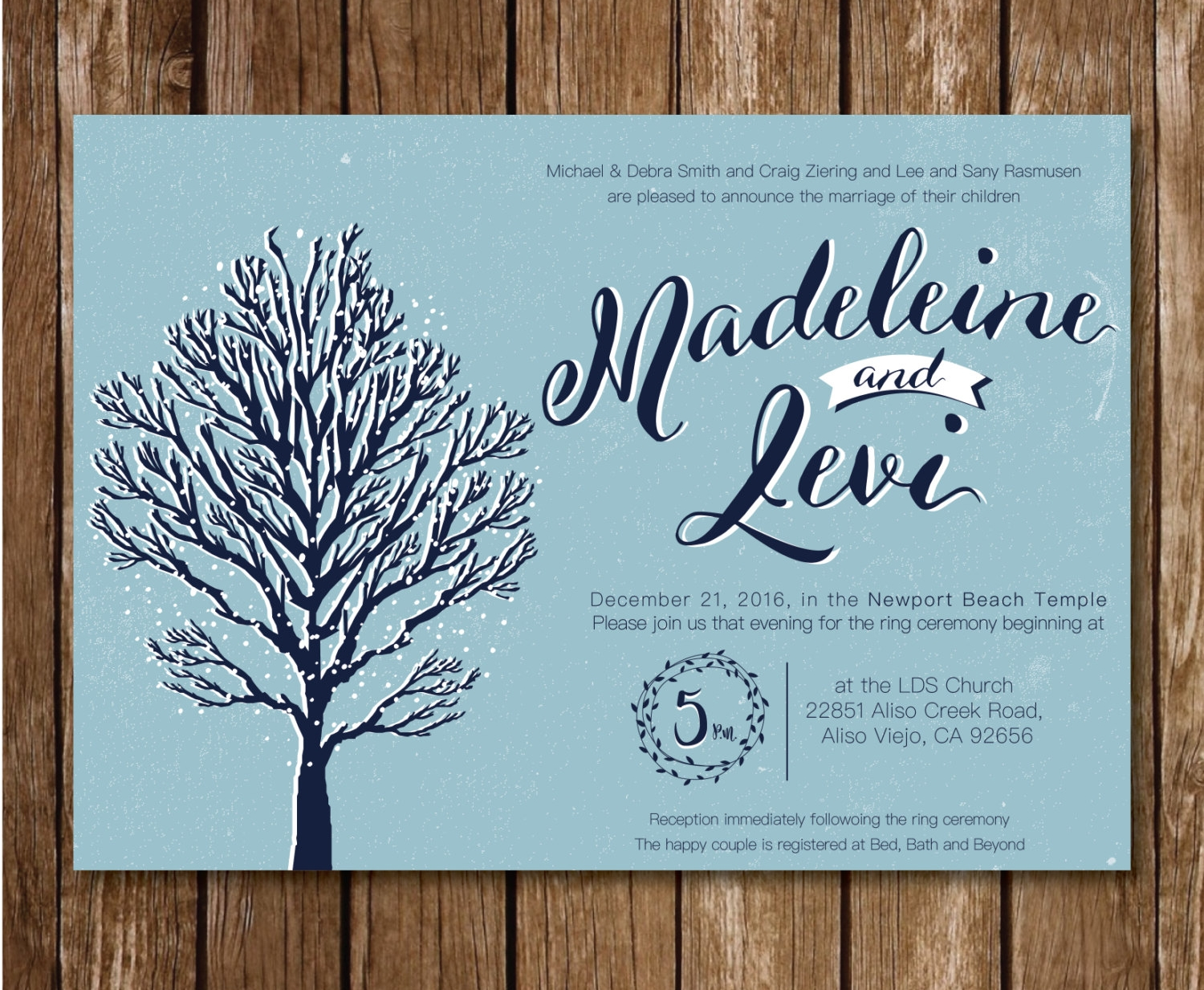 winter wonderland themed wedding invitation