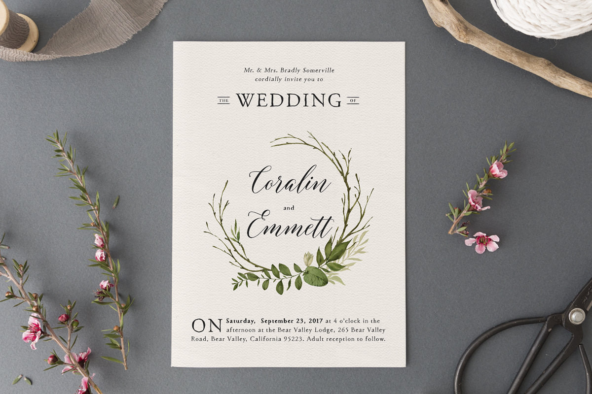 woodlandwatercolor wedding invitatio
