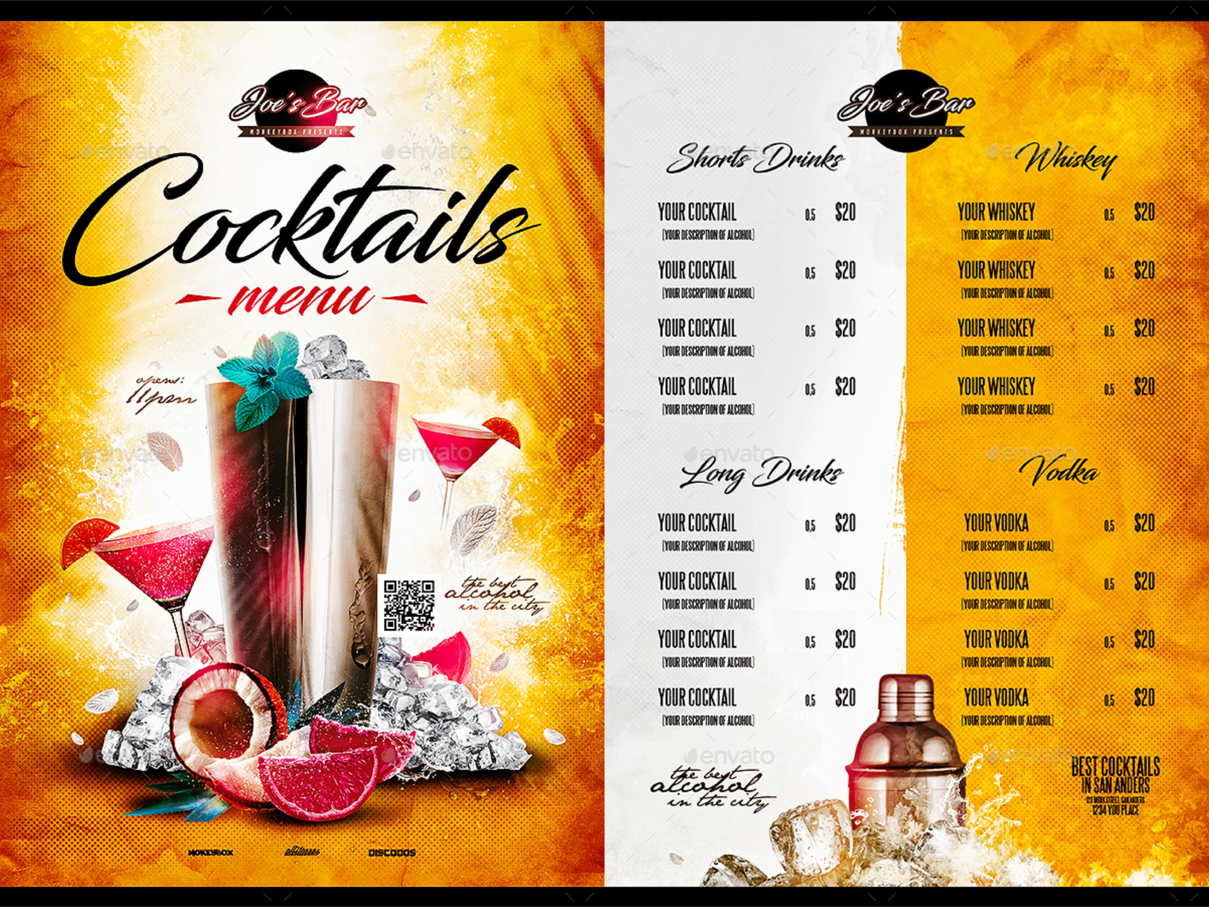 FREE 21+ Cocktail Menu Examples in PSD  AI  EPS Vector  Examples For Cocktail Menu Template Word Free