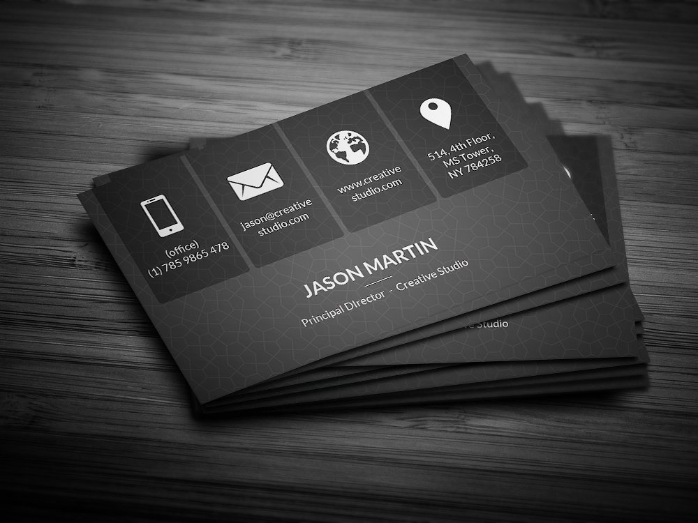 metro dark business card - Business Card Information