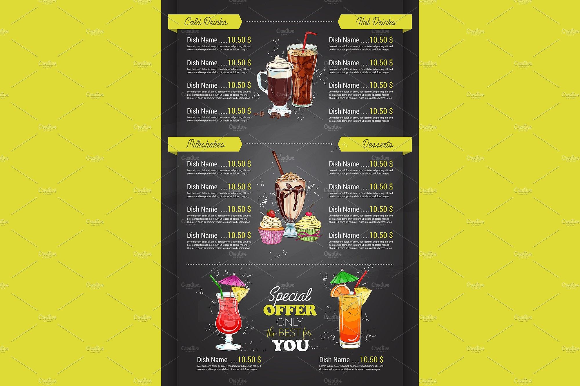 restaurant vertical color menu design on blackboard back