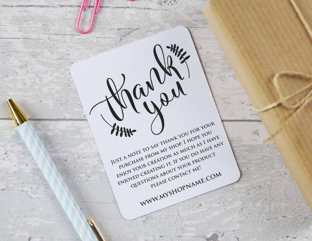 thank you for your order card