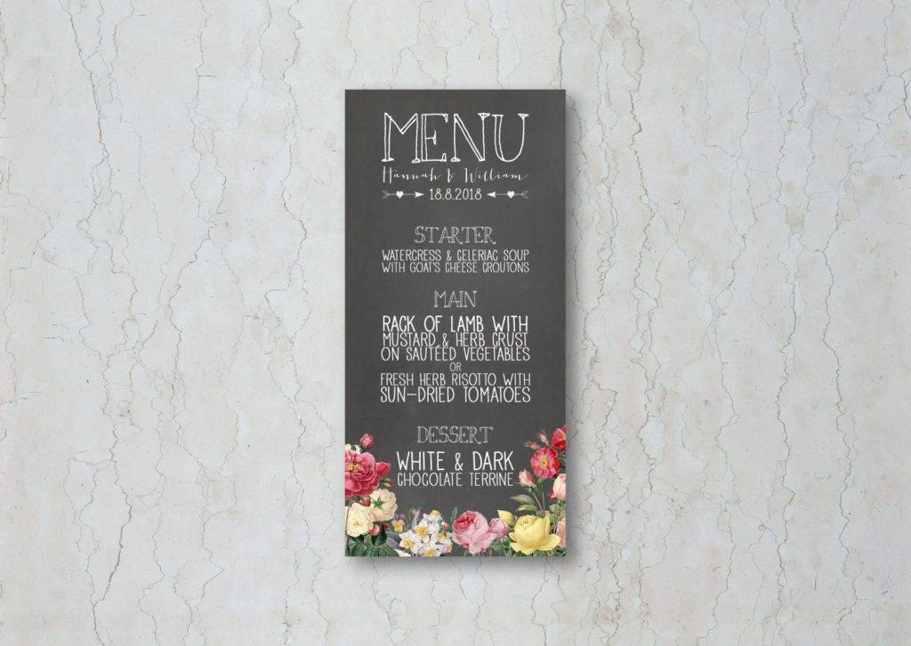 wedding menu floral 1024x727