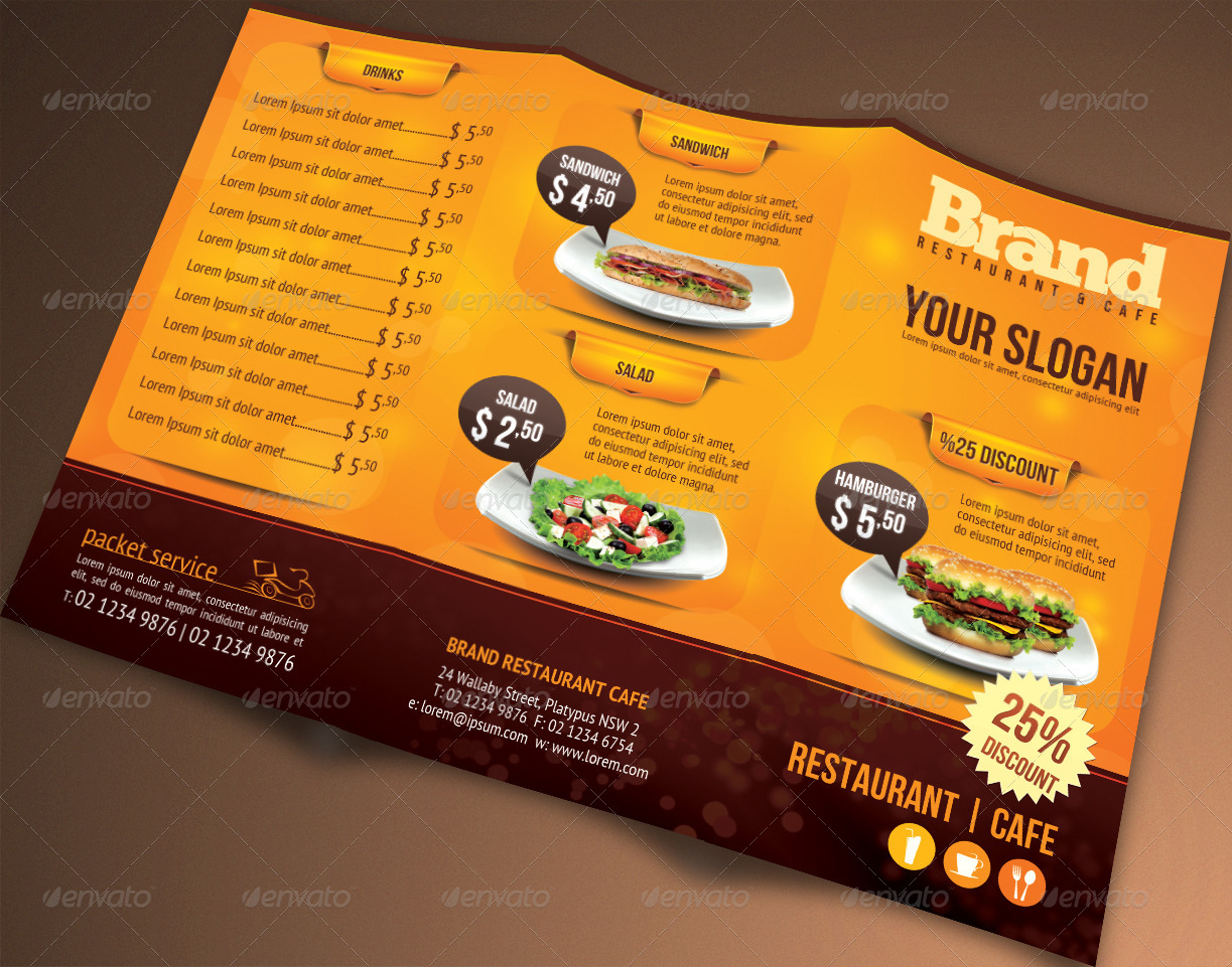Takeout Menu Template Free Insssrenterprisesco - Menu brochure template free