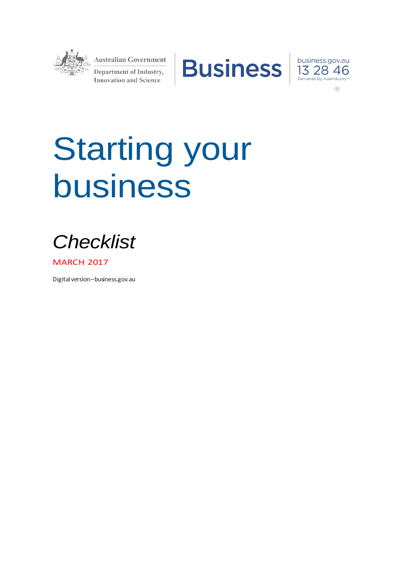 1 starting your business checklist