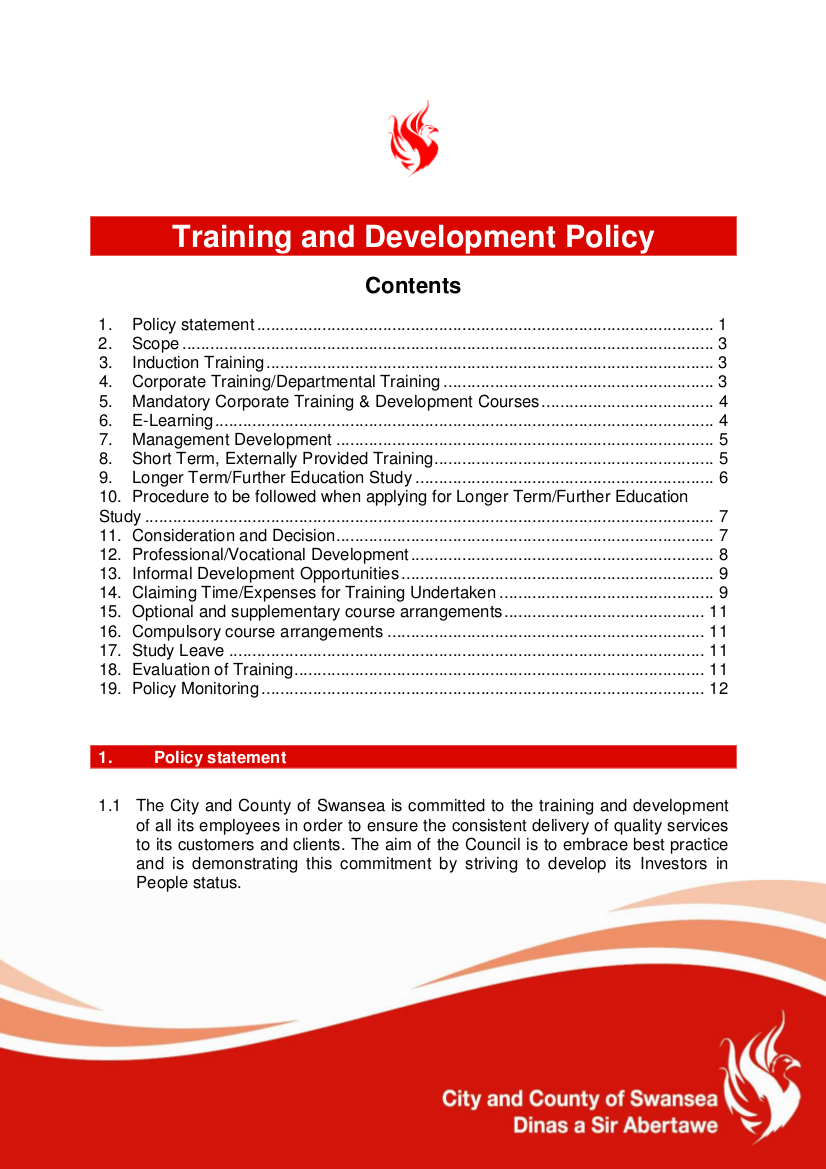1 Training and Development Policy