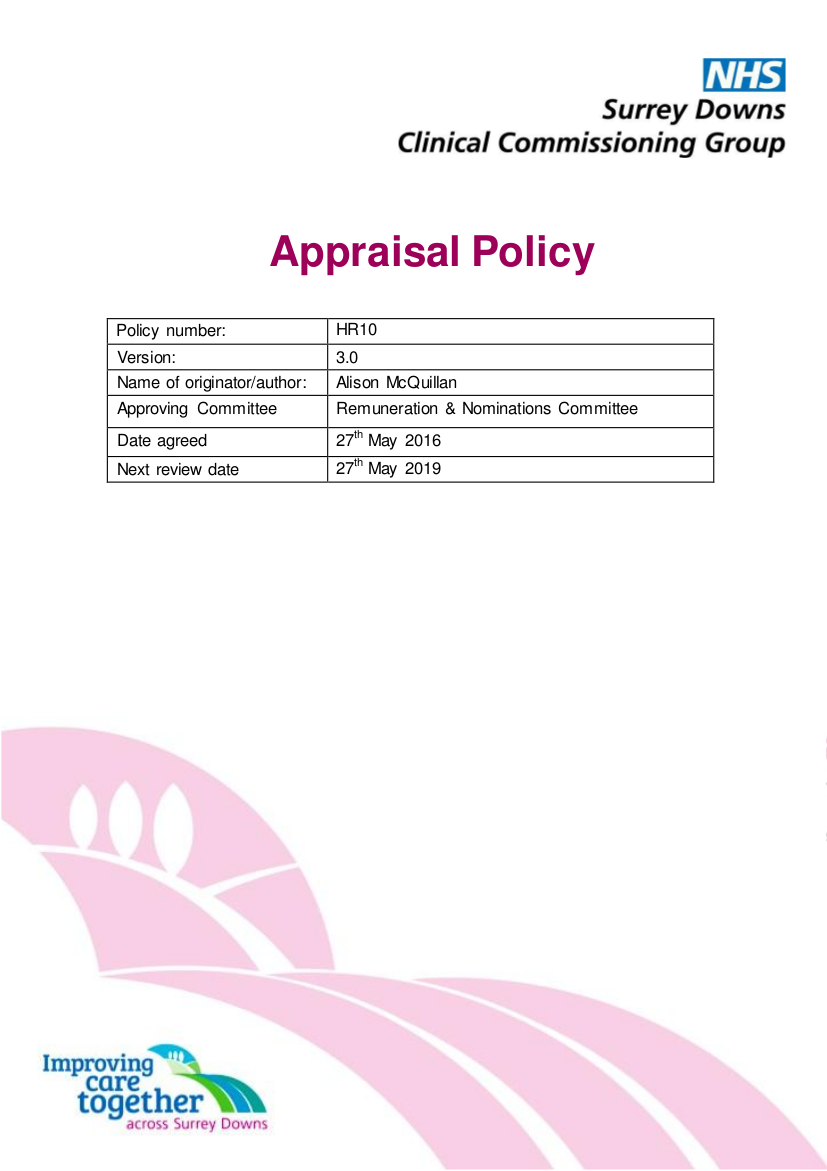 1 hr10 appraisal policy