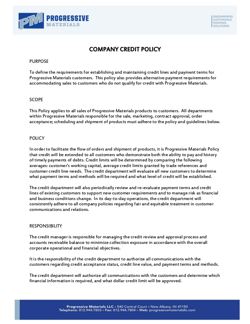 10 credit policy