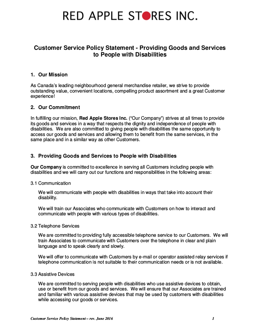 10 customer service policy