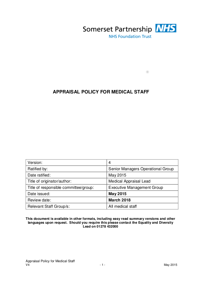 11 appraisal policy for medical staff v4may 2015
