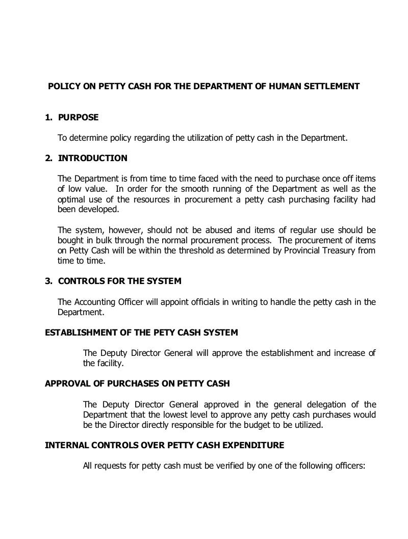 13 petty cash policy