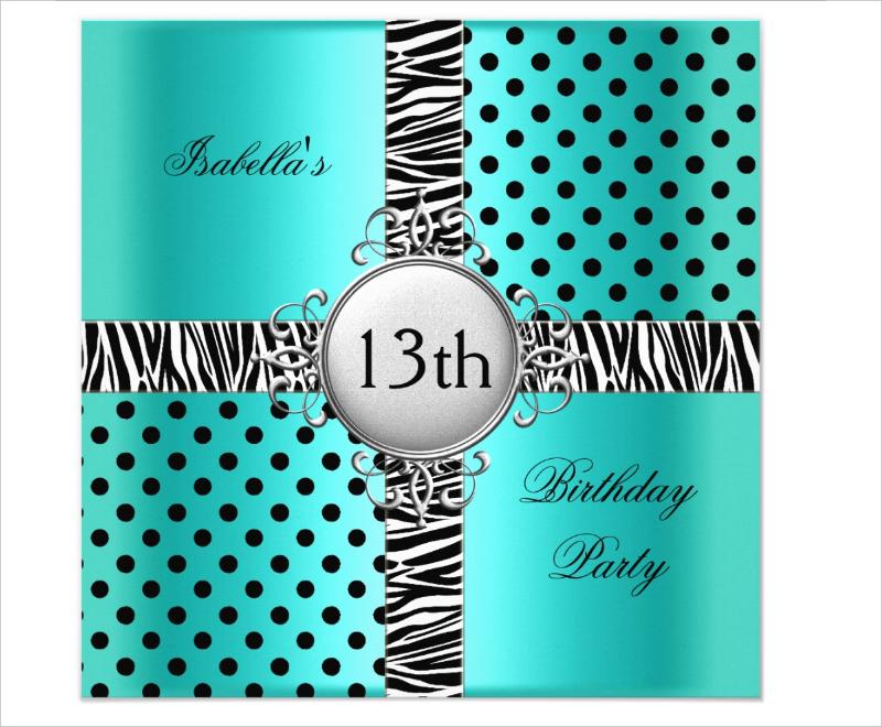 13th teen birthday party invitation