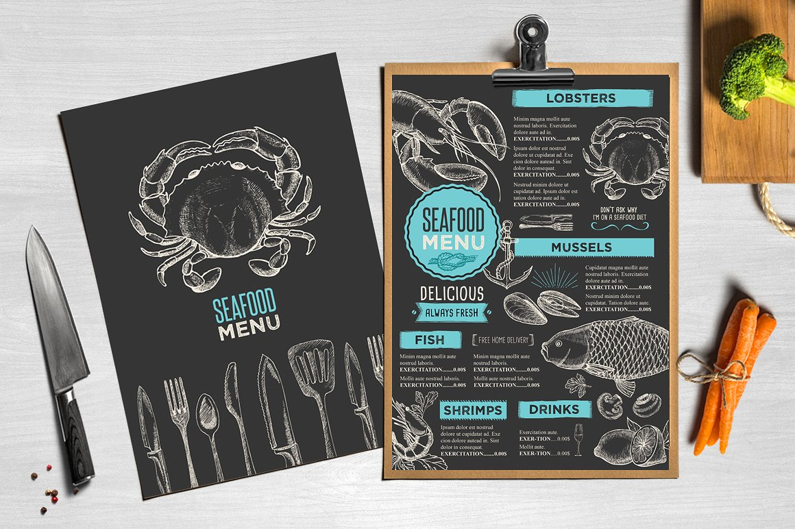 24 Seafood Menu Designs Examples Psd Ai Vector Eps Examples