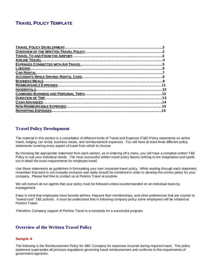 travel policy template 15 tp