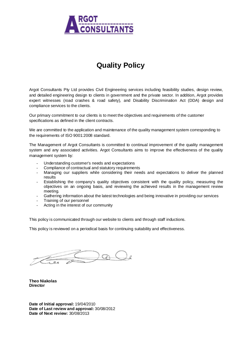 16 quality policy