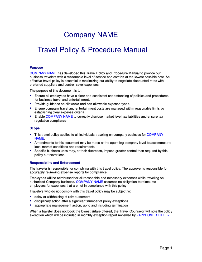 19 travel policy examples samples 16 sample travel policy template wajeb Choice Image