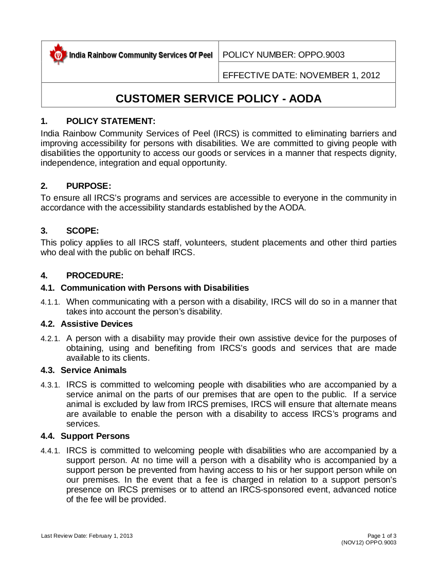aoda policy template - outstanding customer service policy template composition