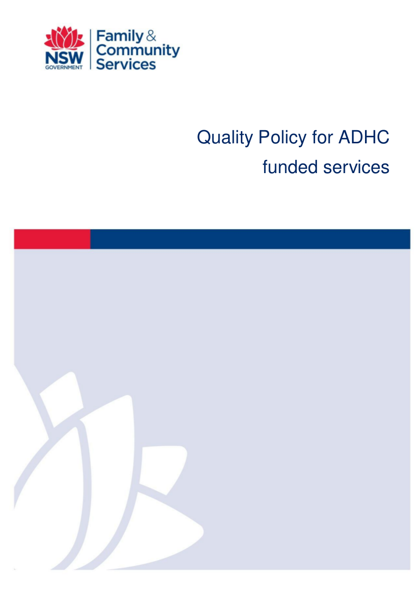 17 Quality Policy for ADHC funded services