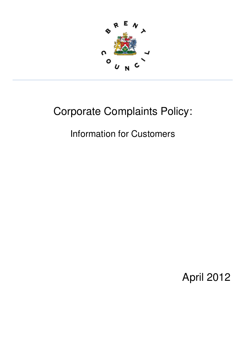 18 brent council corporate complaints policy april 2012