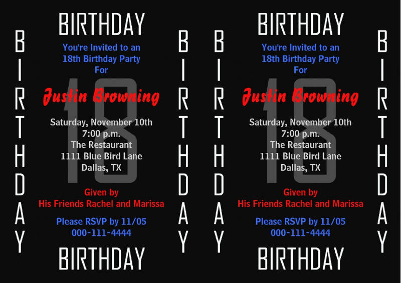 18th birthday party invitation template1