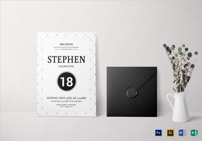 18th birthday party invitation template2